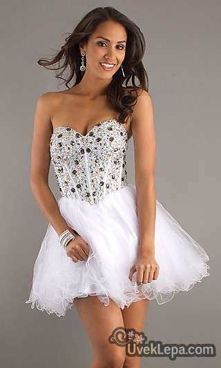 White Prom Dresses with Diamonds