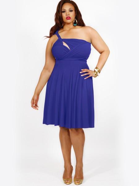 Ženstvena plava haljina
