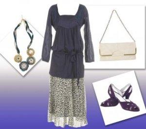 Komplet za puniju osobu,tamna tunika i sarena suknja