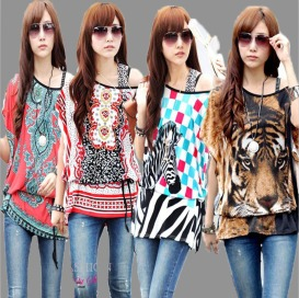 new-fashion-2014-spring-summer-tiger-animal-floral-print-tops-women-plus-size-xxxl-batwing-casual
