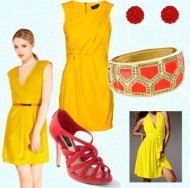 zuta-haljina-crvene-cipele